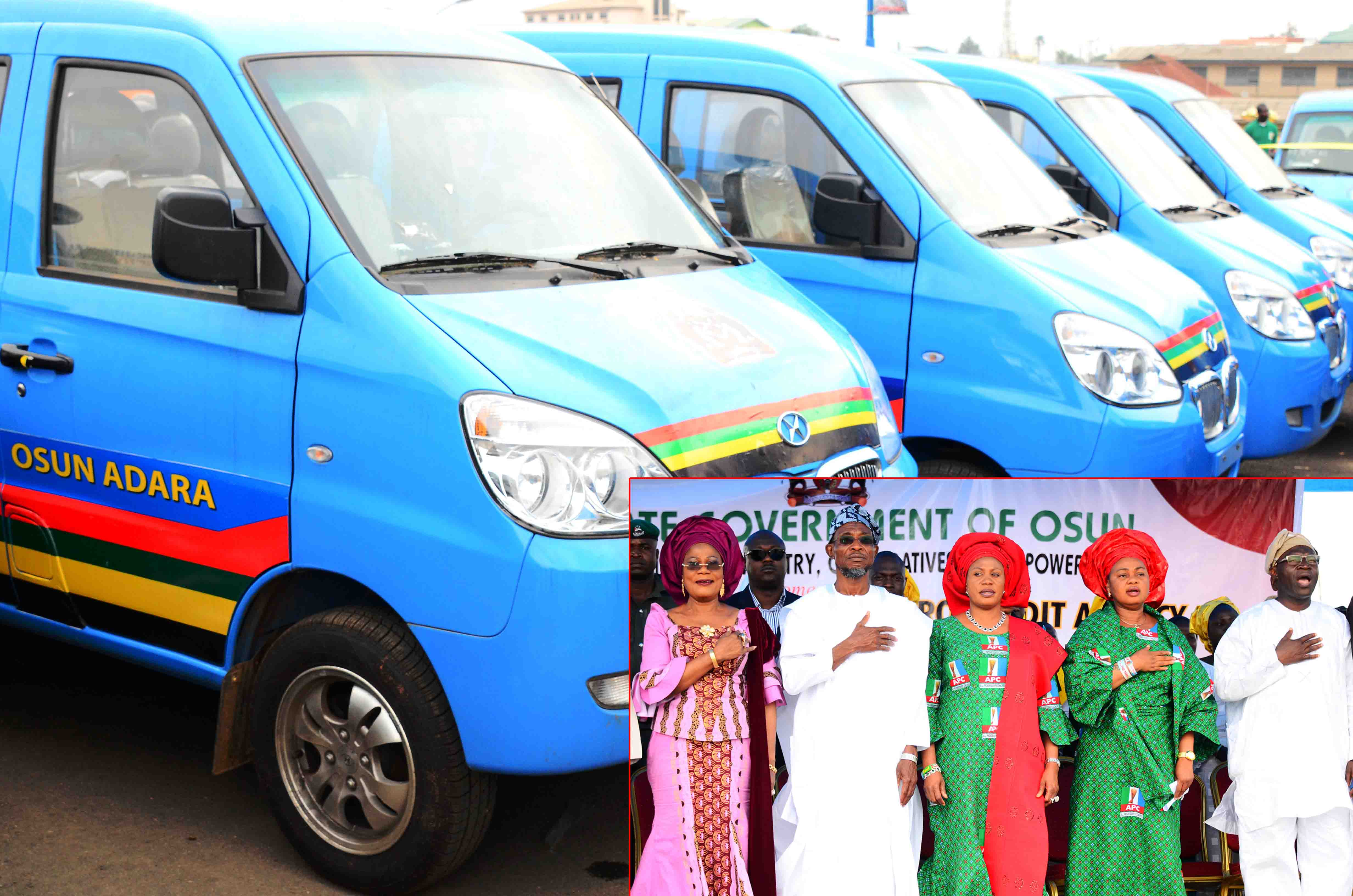 Some of the Mini-Buses distributed to Members of Road Transport Employers Association of Nigeria  (RTEAN) and Cooperative Transporters of Nigeria, at Nelson Mandela Freedom Park, Osogbo, State of Osun. Insert: From left, Deputy Governor, Mrs Titi Laoye-Tomori; Governor Rauf Aregbesola; his Wife, Sherifat; Member, House of Representatives representing Irewole/Ayedaade/Isokan Federal Constituency, Honourable Ayo Omidiran and Commissioner for Commerce, Industries, Cooperatives and Empowerment, Mr Ismaila Alagbada on Wednesday 09-07-2014