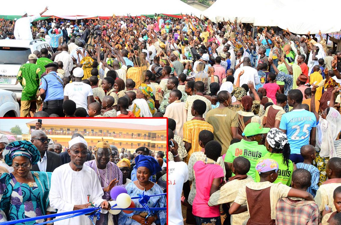 Governor State of Osun, Ogbeni Rauf Aregbesola (left) acknowledging cheers from his admirers and Pupils of Nawirudeen (NUD) Middle School, during the Official Commissioning of the School in Ikire. Insert: From left, Deputy Governor, Mrs Titi Laoye-Tomori; Governor Rauf Aregbesola; Akire of Ikire, Oba Olatunde Falabi; Member, National Assembly representing Irewole/Ayedaade/Isokan Federal Constituency, Honourable Ayo Omidiran and others, on Monday 21-07-2014