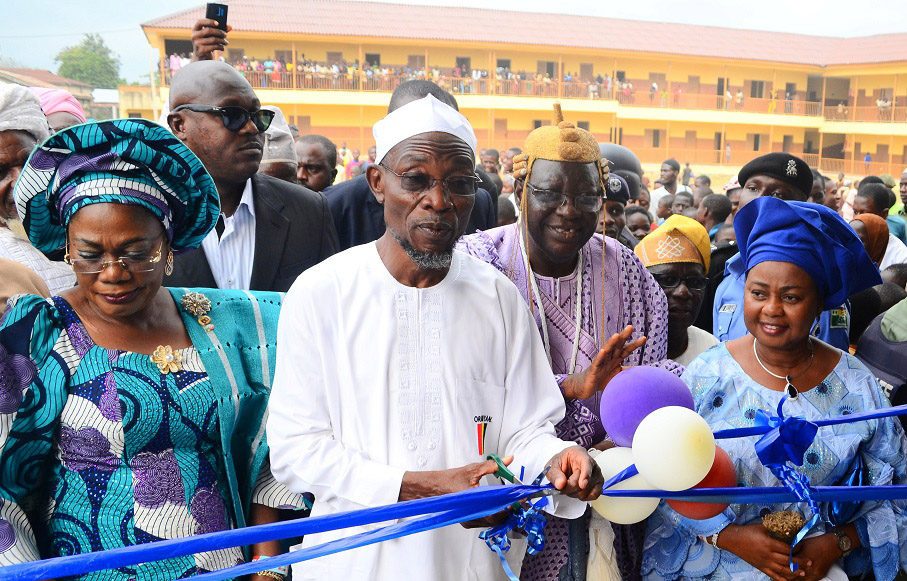 From left, Deputy Governor State of Osun, Mrs Titi Laoye-Tomori; Governor, Ogbeni Rauf Aregbesola; Akire of Ikire, Oba Olatunde Falabi; Member, National Assembly representing Irewole/Ayedaade/Isokan Federal Constituency, Honourable Ayo Omidiran and others, during the Official Commissioning of Nawirudeen (NUD) Middle School, Ikire on Monday 21-07-2014