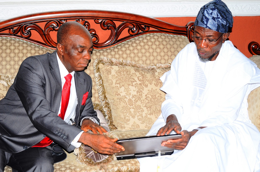 Governor State of Osun, Ogbeni Rauf Aregbesola (right) and Founder, Living Faith Church aka Winners Chapel, Bishop David Oyedepo, during the Bishop's Visit to the Governor in Government House, Osogbo, State of Osun on Wednesday 09-07-2014