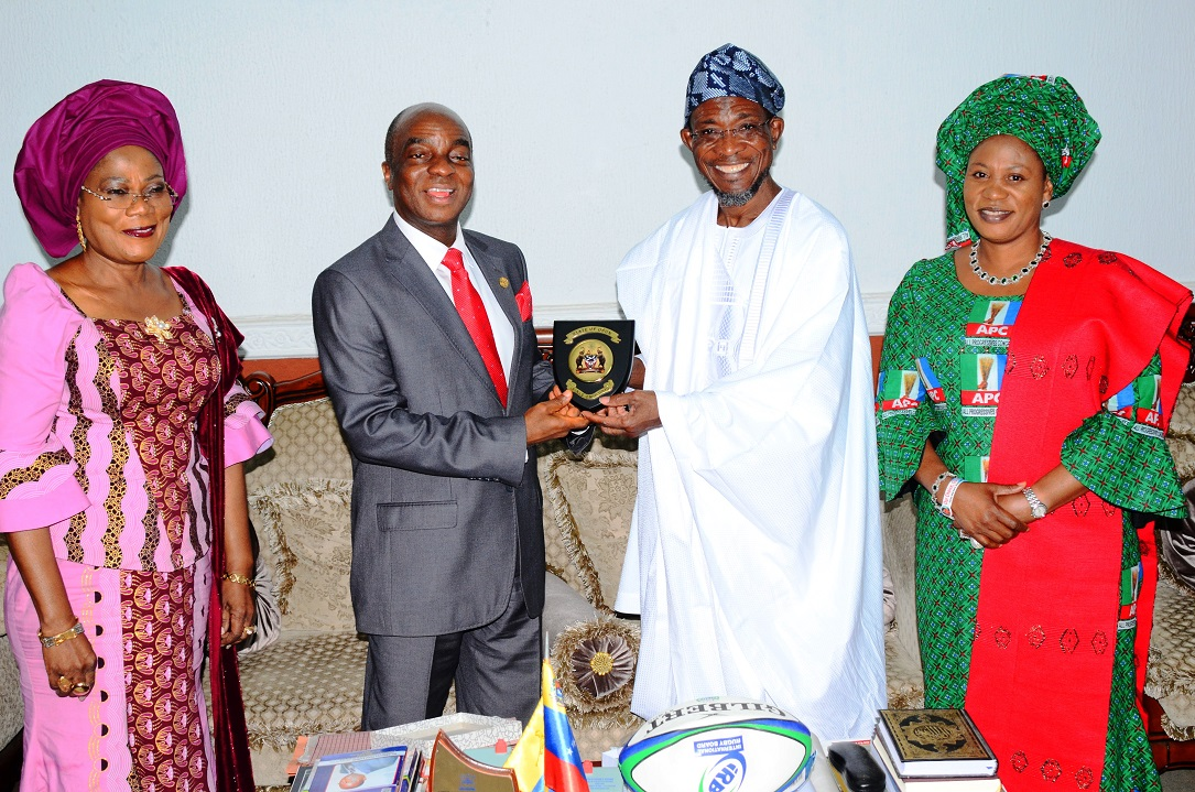 From left, Deputy Governor State of Osun, Mrs Titi Laoye-Tomori; Founder, Living Faith Church aka Winners Chapel, Bishop David Oyedepo; Governor State of Osun, Ogbeni Rauf Aregbesola and his Wife, Sherifat, during the Bishop's Visit to the Governor in Government House, Osogbo, State of Osun on Wednesday 09-07-2014