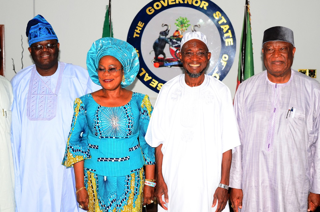Governor State of Osun, Ogbeni Rauf Aregbesola (2nd right); his Deputy, Mrs Titi Laoye-Tomori (2nd left); Chairman, Senate Committee on Privatisation, Senator Gbenga Obadara (left) and Senator Barnabas Gemade, during the Committee's courtesy call on the Governor at Government House, Osogbo, State of Osun