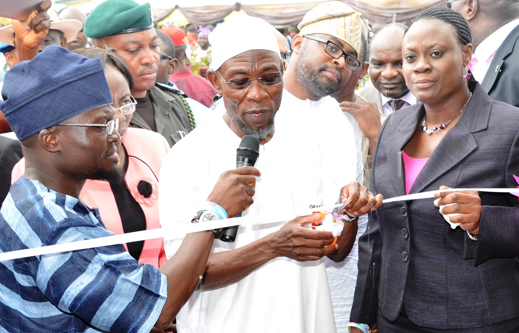 From right, Commissioner for Health, Dr Temitope Ilori; Governor State of Osun, Ogbeni Rauf Aregbesola; Special Adviser for Health, Dr Rafiu Isamotu and others, during the Commissioning of Hand-held Ultrasound Diagnostic (Touch Screen) Scanners and Mirror 3D (colour) Doppler Ultrasound Diagnostic Scanner, at Nelson Mandela Freedom Park, Osogbo, State of Osun on Thursday 17-07-2014