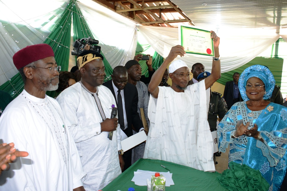 From left, National Commissioner, Independent National Electoral Commission (INEC), Ambassador Muhammed Wali; Secretary of the Commission, Mr Oladapo Oladipo; Acting Director, Legal, Mr. Ibrahim Bawa; Governor State of Osun, Ogbeni Rauf Aregbesola and Deputy Governor, Mrs Titi Laoye-Tomori, at the presentation of Certificate of Returns to Governor Aregbesola at INEC office, Osogbo, State of Osun on Tuesday 12-08-2014
