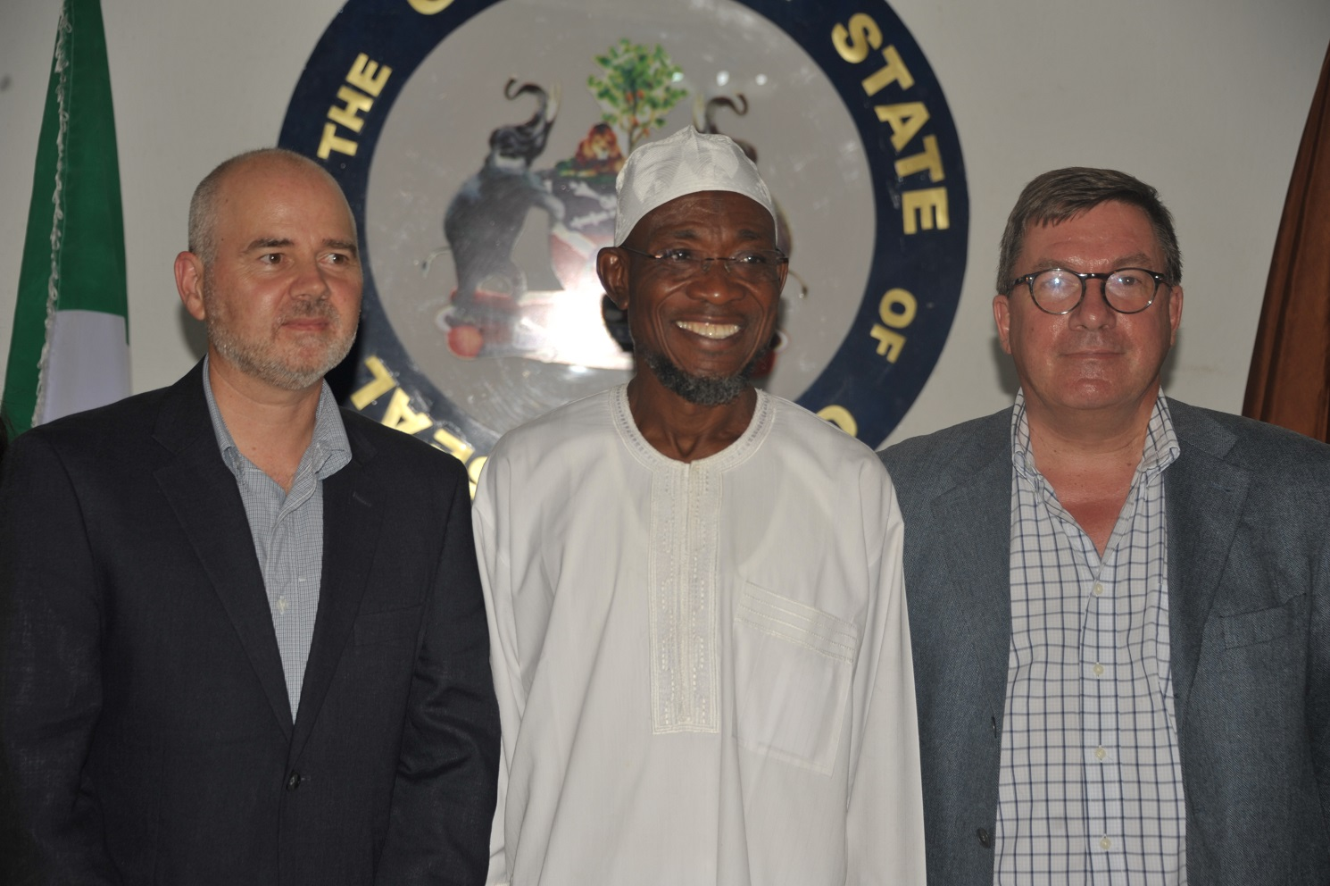 Governor State of Osun, Ogbeni Rauf Aregbesola, European Union Election Monitoring Coordinator, Mr Paul Edwards and Ambassador of Kingdom of the Netherlands,Mr John c.m Groffen during a Courtesy Visit to the Governor at Government House, Osogbo on Sunday 10th-08-2014
