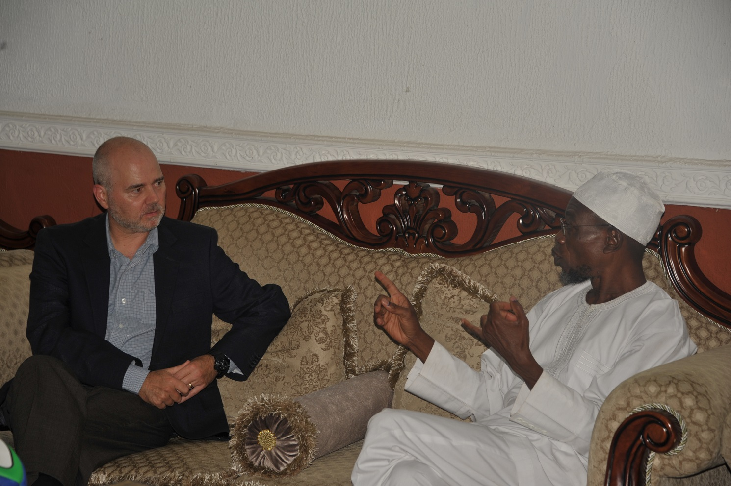 Governor State of Osun, Ogbeni Rauf Aregbesola, European Union Election Monitoring Coordinator, Mr Paul Edwards,during a Courtesy Visit to the Governor at Government House, Osogbo on Sunday 10th-08-2014