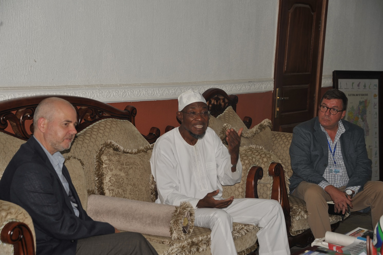 Governor State of Osun, Ogbeni Rauf Aregbesola, European Union Election Monitoring Coordinator, Mr Paul Edwards and Ambassador of Kingdom of the Netherlands,Mr John c.m Groffen, during a Courtesy Visit to the Governor at Government House, Osogbo on Sunday 10th-08-