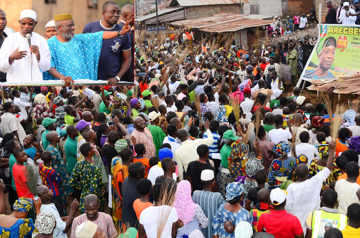Indigenes of Ora-Igbomina in Ifedayo Local Government of Osun welcoming Governor Rauf Aregbesola, during a Thank You Visit to the ancient town. Insert: From left, Governor Rauf Aregbesola; Member, National Assembly representing Osun Central Senatorial District, Senator Sola Adeyeye and Executive Secretary, Ifedayo Local Government, Mr Kunle Ayantoye, on Monday 11-08-2014