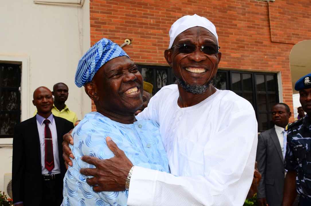 Former National Chairman, All progressives Congress (APC), Chief Bisi Akande (left) in a warm embrace with Governor State of Osun, Ogbeni Rauf Aregbesola, during the Governor's Visit to Akande in his residence, Ila-Orangun