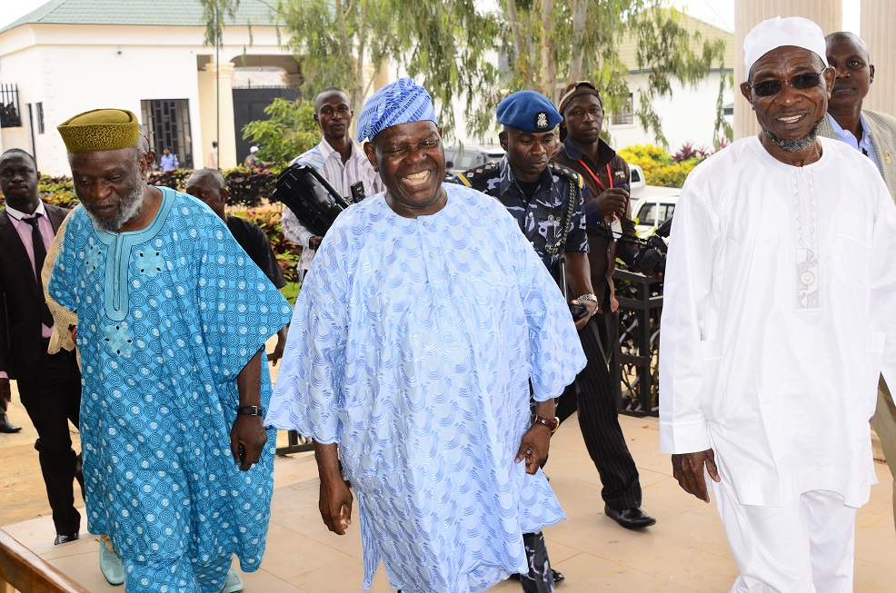 From right, Governor State of Osun, Ogbeni Rauf Aregbesola; Former National Chairman, All progressives Congress (APC), Chief Bisi Akande and Member, National Assembly representing Osun Central Senatorial District, Senator Sola Adeyeye, during the Governor's Visit to Akande in his residence, Ila-Orangun