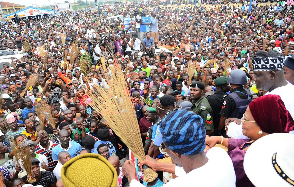 Governor State of Osun, Ogbeni Rauf Aregbesola; his Deputy, Mrs Titi :Laoye-Tomori and Acting Chairman of State APC, Elder Adelowo Adebiyi, addressing crowd of people at the Freedom Park, Osogbo after been declare winner of Saturday's governorship poll in the state, at the Government House, Osogbo, Sate of Osun on Sunday 10-08-2014