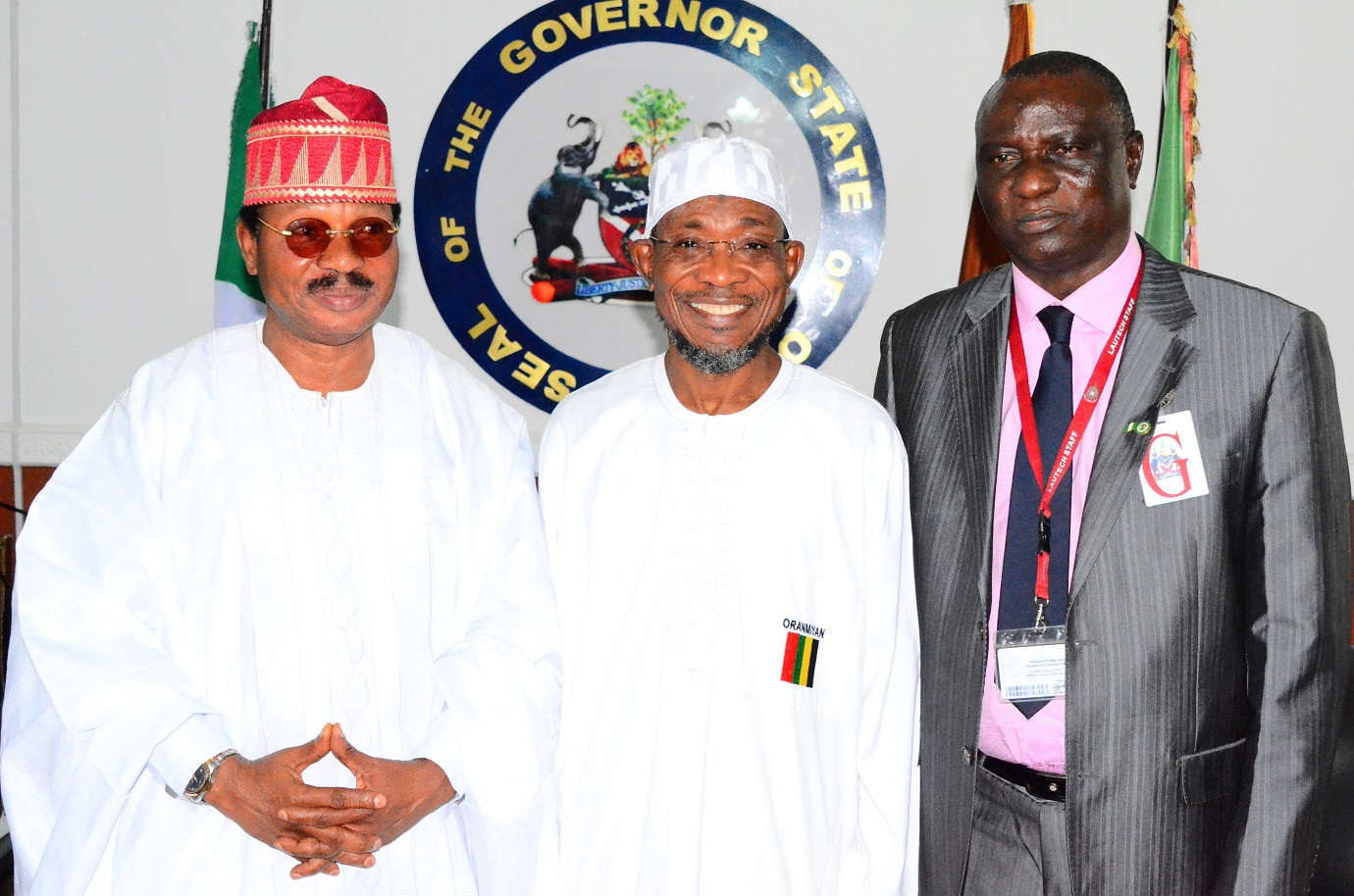 From left, Pro-Chancellor/Chairman of Council, Ladoke Akintola University of Technology (LAUTECH), Ogbomoso, Professor Wale Omole; Governor State of Osun, Ogbeni Rauf Aregbesola and Vice Chancellor, LAUTECH Ogbomoso, Professor Adeniyi Gbadegesin, during a Congratulatory and Courtesy Visit to the Governor, by Council Members and Management Team of LAUTECH at Government House, Osogbo, State of Osun on Wednesday 27-08-2014