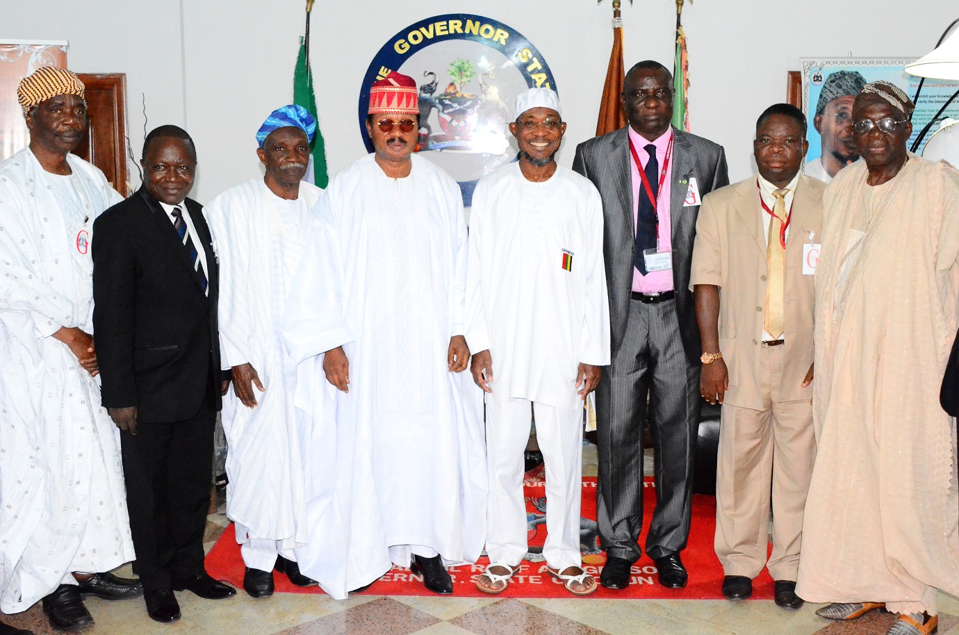 Governor State of Osun, Ogbeni Rauf Aregbesola (4th right); Pro-Chancellor/Chairman of Council, Ladoke Akintola University of Technology (LAUTECH), Ogbomoso, Professor Wale Omole (4th left); Vice Chancellor, LAUTECH Ogbomoso, Professor Adeniyi Gbadegesin (3rd right); Deputy Vice Chancellor, LAUTECH, Professor Timothy Adebayo (2nd right); Members of Council, LAUTECH, Professor Richard Olaniyan (left); Professor Olasupo Ladipo (3rd left) and others, during a Congratulatory and Courtesy Visit to the Governor, by Council Members and Management Team of LAUTECH at Government House, Osogbo, State of Osun on Wednesday 27-08-2014