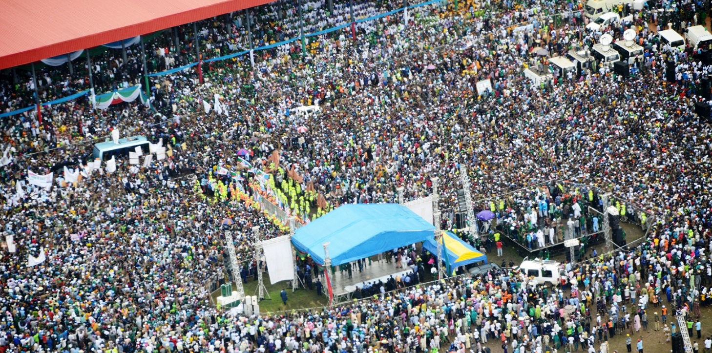 Governor State of Osun, Ogbeni Rauf Aregbesola (On Top of Bus), at a Mega Rally on his Re-election, held at Osogbo City Stadium, Osogbo, State of Osun on Tuesday 05-08-2014