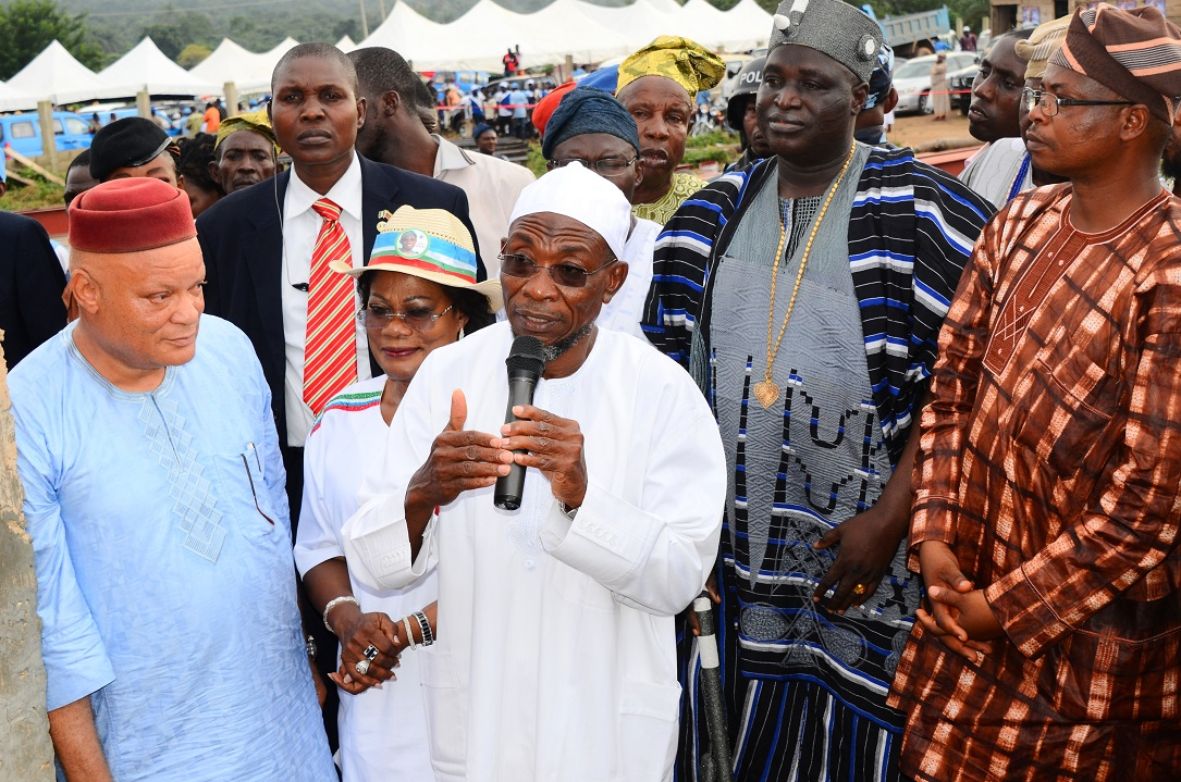 Governor State of Osun, Ogbeni Rauf Aregbesola (3rd left); his Deputy, Mrs Titi Loaye-Tomori (2nd left); Timi of Ede, Oba Munirudeen Lawal (2nd right); Managing Director, Tilad Auto Nigeria Limited, Alhaji Tijani Oladosu (left); Special Adviser to the Governor on Commerce, Industry, Cooperatives and Empowerment, Dr Olalekan Yinusa (right) and others, during the Turning of Sod for Mini Bus factory Building at Free Trade Zone, Ede, State of Osun