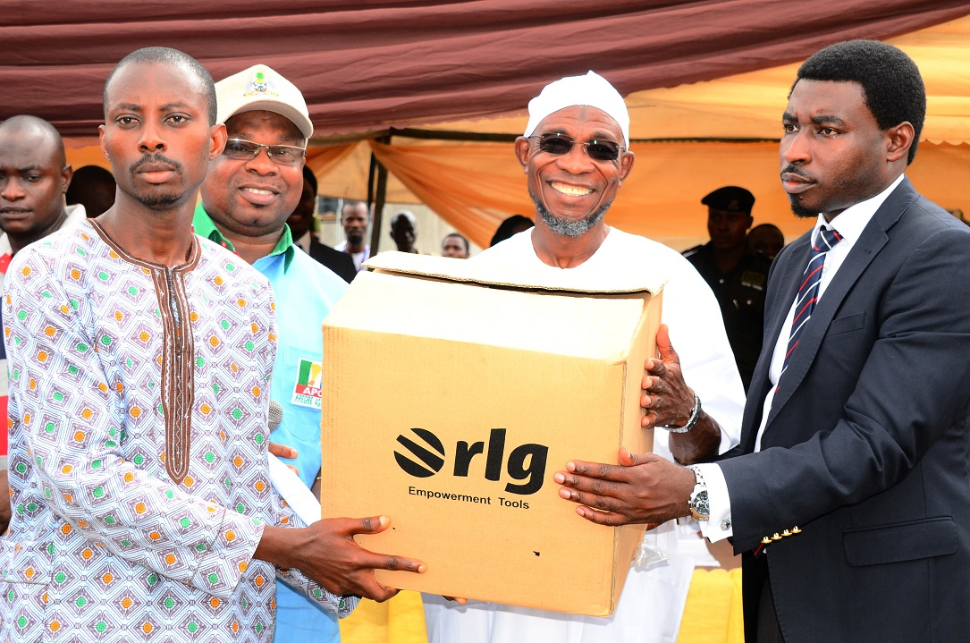 Governor State of Osun, Ogbeni Rauf Aregbesola (2nd right); Regional Director West/Central Africa, RLG Communications, Mr Tosin Ilesanmi (right); Managing Director, Osun Investment Company Limited (OSICOL), Alhaji Bola Oyebamiji (2nd left) and Mr Fakayode John (left), during the Official Launch of Osun Youth Empowerment Scheme-Technology (OYES-TECH) at Government House Lawn, Osogbo, State of Osun, during the weekend