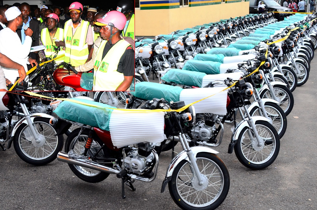 Some of the 500 Motorcycles (Okada) bought by Aregbesola's administration to Support the Okada Riders in Osun. Insert: Governor State of Osun, Ogbeni Rauf Aregbesola cutting the tape to Commission the Motorcycles, during his Endorsement for Second Term by the Okada Riders, at Nelson Mandela Freedom Park, Osogbo, State of Osun, during the weekend
