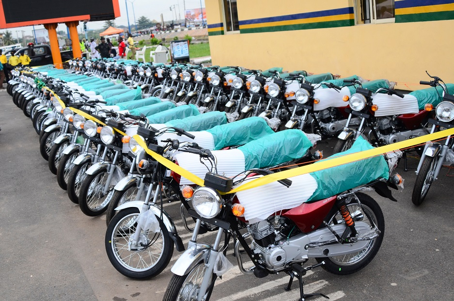 Some of the 500 Motorcycles (Okada) bought by Governor Rauf Aregbesola's administration to Support the Okada Riders in Osun, at Nelson Mandela Freedom Park, Osogbo, State of Osun, during the weekend