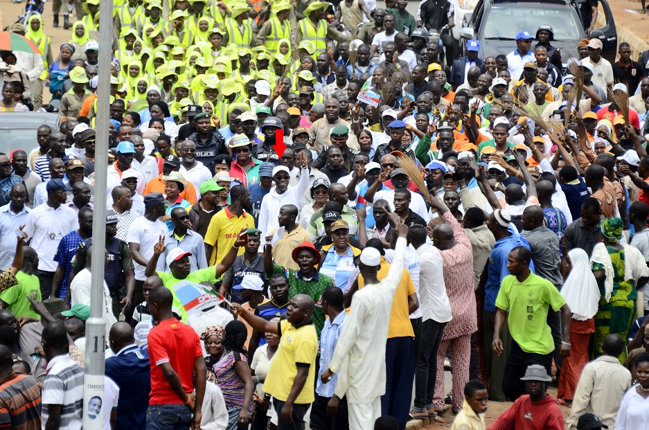 Governor State of Osun, Ogbeni Rauf Aregbesola (arrowed) acknowledging cheers from his Supporters, during the 16th Edition of the Walk to Live Exercise in Osogbo, State of Osun on Thursday 07-08-2014