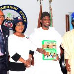 From left-* Commissioner for Youths, Sports and Special needs, Mr. Stephen Kola- Balogun; Deputy Governor State of Osun, Mrs. Grace Titi-Laoye Tomori, Governor State of Osun, Ogbeni Rauf Aregbesola and Newly posted Coordinator, National Youth Service Corps (NYSC) State of Osun, Mr Abada Okpiroro during a recent courtesy visit to the Governor at Government House, Osogbo