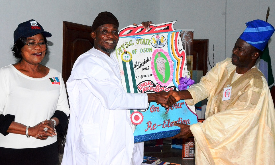 From left- Deputy Governor State of Osun, Mrs. Grace Titi-Laoye Tomori, Governor State of Osun, Ogbeni Rauf Aregbesola and Newly posted Coordinator, National Youth Service Corps (NYSC) State of Osun, Mr Abada Okpiroro during a recent courtesy visit to the Governor at Government House, Osogbo