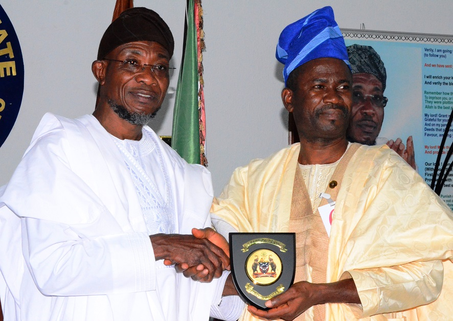 Governor State of Osun, Ogbeni Rauf Aregbesola and Newly posted Coordinator, National Youth Service Corps (NYSC) State of Osun, Mr Abada Okpiroro during a courtesy visit to the Governor at Government House, Osogbo