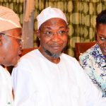 Governor State of Osun, Ogbeni Rauf Aregbesola (middle); Chief of Staff to the Governor, Alhaji Gboyega Oyetola (left) and National President Association of Professional Women Engineers of Nigeria, Engineer(Mrs) Nnoli Akpedeye during a congratulatory visit to the governor on his victory in the August 9th gubernatorial election held at Government House, Osogbo on Wednesday 17/09/2014