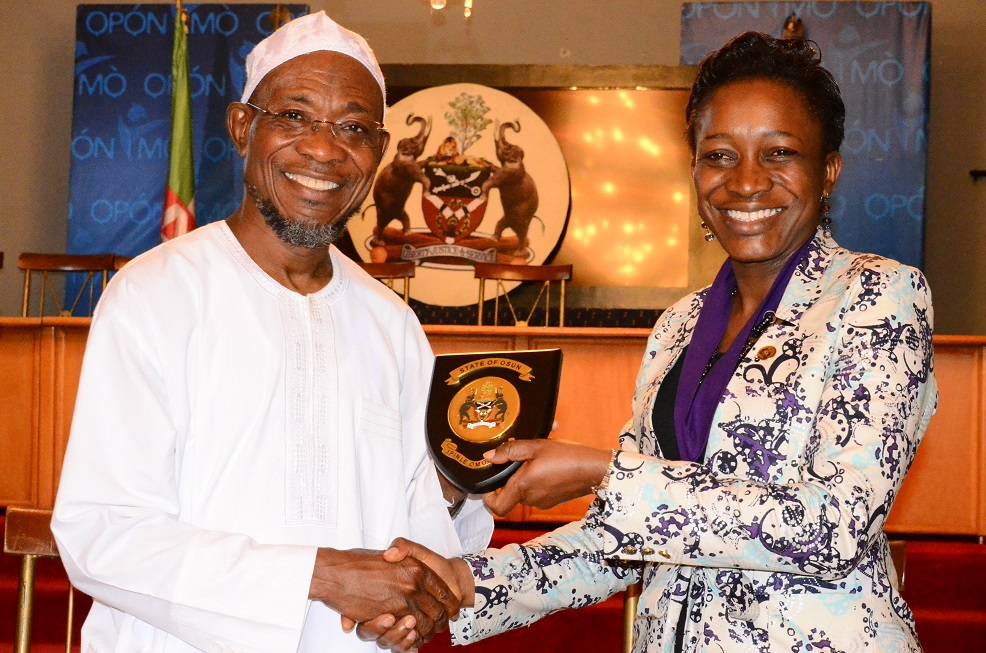 Governor State of Osun, Ogbeni Rauf Aregbesola and National President Association of Professional Women Engineers of Nigeria, Engineer (Mrs) Nnoli Akpedeye during a congratulatory visit to the Governor on his victory in the August 9th gubernatorial election held at Government House, Osogbo on Wednesday 17/09/2014