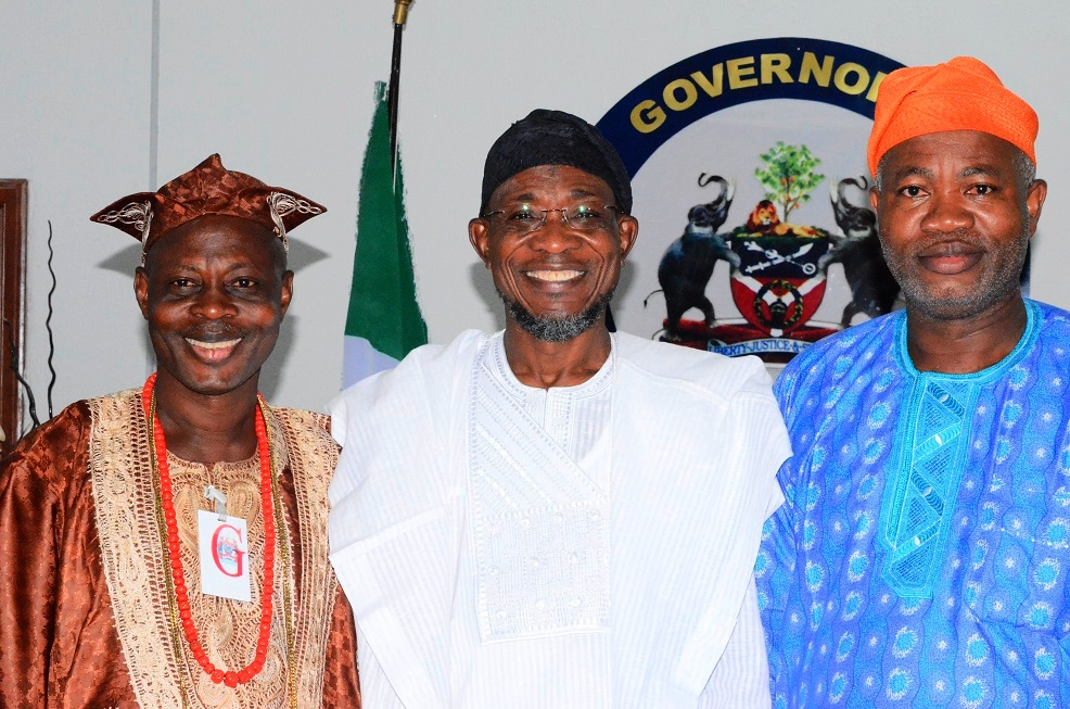 Governor State of Osun, Ogbeni Rauf Aregbesola (middle); Chairman United Democratic Party (UDP) Osun State Chapter, Prince Adesoji Adeleke (left) and Chairman National Conscience Party (NCP) State of Osun Chapter, Alhaji Waheed Lawal (right) , during a solidarity visit to the Governor at the Government House last saturday