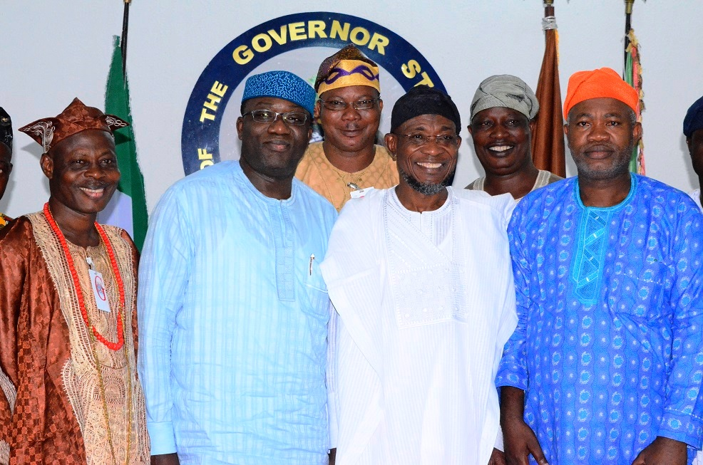 From left- Chairman United Democratic Party (UDP) Osun State Chapter, Prince Adesoji Adeleke; Ekiti State Governor, Dr. Kayode Fayemi, Governor State of Osun, Ogbeni Rauf Aregbesola, Chairman National Conscience Party (NCP) State of Osun Chapter, Alhaji Waheed Lawal (right) and others, during a solidarity visit to the Governor at the Government House last saturday