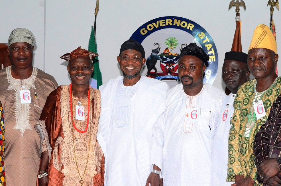 From left- Chairman United People's Party Osun State Chapter, Dr. Idowu Omidiji; Chairman United Democratic Party (UDP) Osun State Chapter, Prince Adesoji Adeleke, Governor State of Osun, Ogbeni Rauf Aregbesola, Chairman Mega Progressive People's Party(MPPP) Osun State Chapter, Chief Adetoro Babatunde, Chairman New Nigeria People's Party(NNPP) Osun State Chapter, Prince Adegoke Adefore and African People's Alliance(APA), Alhaji Azeez Agboola,   during a solidarity visit to the Governor at the Government House last saturday