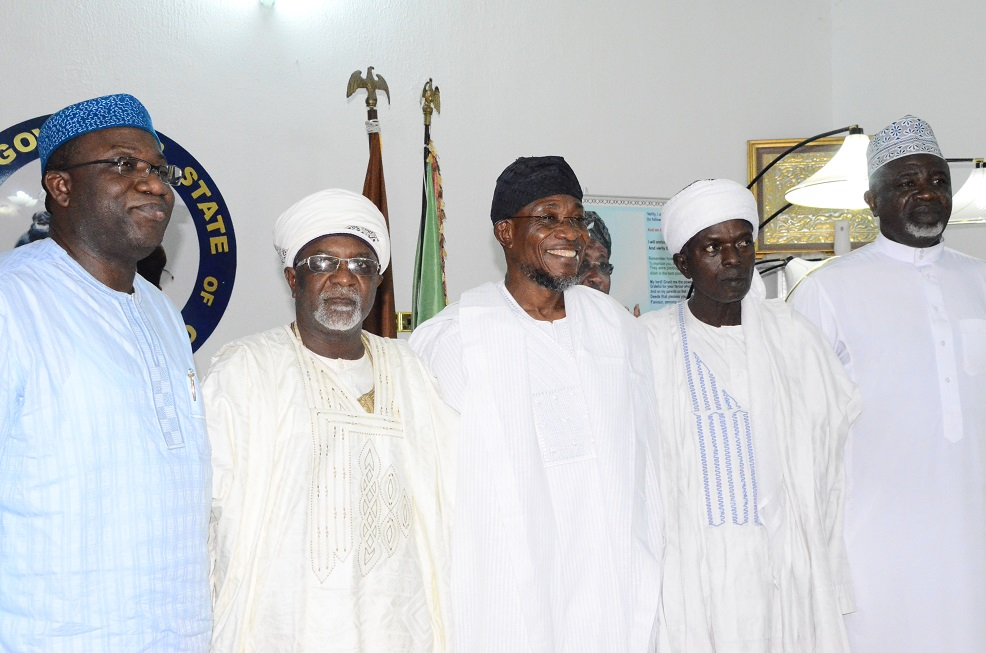 From left- Ekiti State Governor, Dr. Kayode Fayemi, representative of Sultan of Sokoto, Alhaji Mallami Maccido (Ubandoma of Sokoto); Governor State of Osun, Ogbeni Rauf Aregbesola, Serikin Yorubawa of Sokoto, Alhaji Isiaka Usman and a member of the General Purpose Committee of the Supreme Council for Islamic Affairs, Alhaji Ishaq Kunle Sanni during a condolence visit to the Governor on the death of President General, League of Imams and Alfas South-west including Edo and Delta States, Alhaji Sheik Mustapha Ajisafe, held at Government House, Osogbo on Saturday 13/09/2014