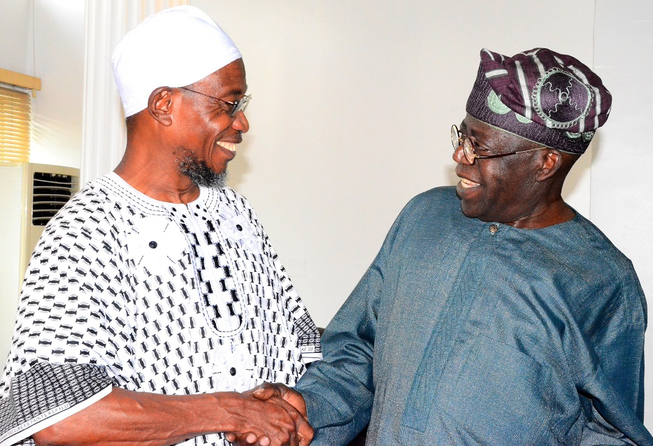 Governor State of Osun, Ogbeni Rauf Aregbesola and National leader All Progressive Party, Senator Bola Ahmed Tinubu during a congratulatory reception for Aregbesola over his victory on the August 9th gubernatorial election in Osun, at his Victoria Island office in Lagos State, on Monday 22/09/2014.