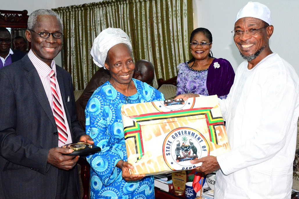 Governor State of Osun, Ogbeni Rauf Aregbesola (right); his Deputy, Mrs Titi Loaye-Tomori (2nd right); State Overseer, Deeper Life Bible Church in Osun, Pastor John Adeniran (left) and his wife, Mrs Elizabeth Adeniran, during a Courtesy Visit by Leadership of Deeper Life to the Governor at the Government House, Osogbo, State of Osun