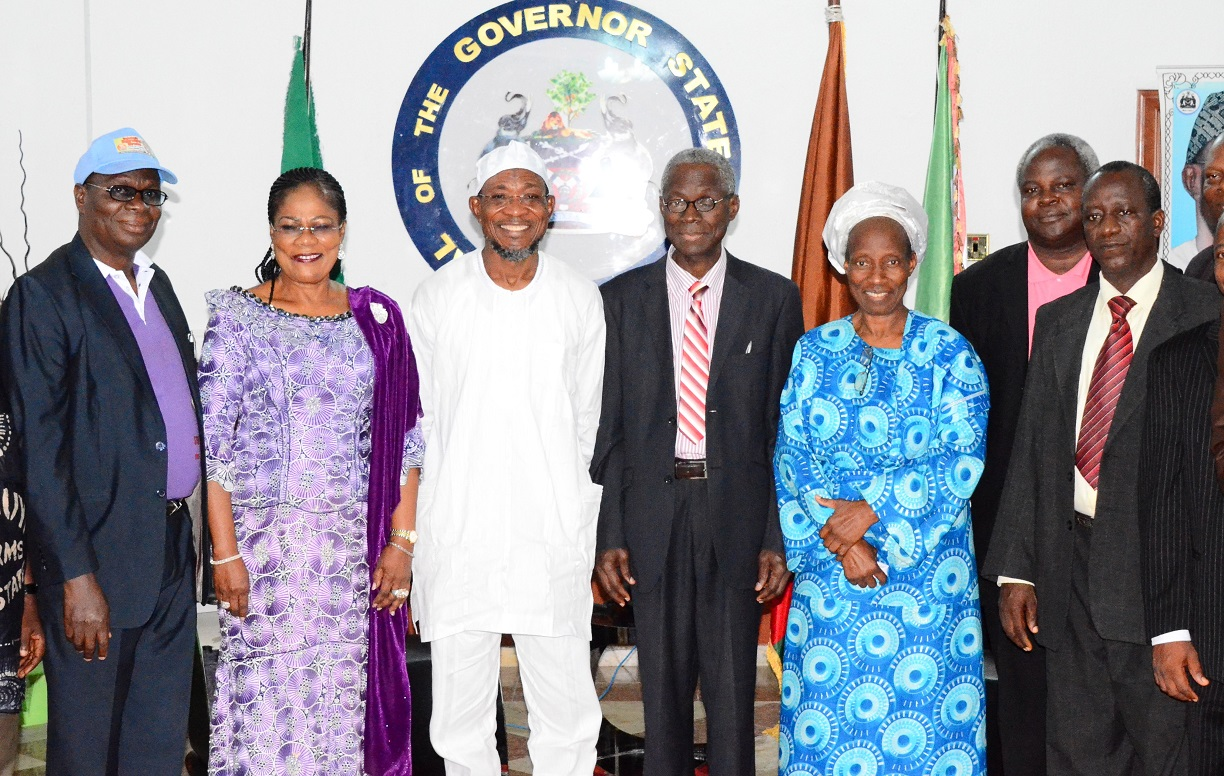 Governor State of Osun, Ogbeni Rauf Aregbesola (3rd left); his Deputy, Mrs Titi Loaye-Tomori (2nd left); State Overseer, Deeper Life Bible Church in Osun, Pastor John Adeniran (3rd right); his wife, Mrs Elizabeth (2nd right); Regional Overseer  Ede, Pastor Roland Oludare (left); Pastor Adeola Olusegun (right) and others, during a Courtesy Visit by Leadership of Deeper Life to the Governor at the Government House, Osogbo, State of Osun