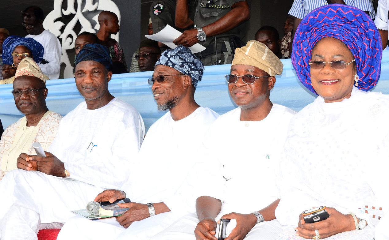 From right, Deputy Governor, State of Osun, Mrs Titi Laoye-Tomori; Chief of Staff to the Governor, Alhaji Gboyega Oyetola; Governor Rauf Aregbesola; Secretary to the State Government, Alhaji Moshood Adeoti and Ogun State Chief of Staff, Professor Ganiyu Olatunde, during the 8th Day Fidau Prayer for the President General, League of Imams and Alfas, South-West, Edo and Delta, Late Sheik Mustapha Ajisafe at Osogbo City Stadium, Osogbo, State of Osun on Wednesday 17-09-2014