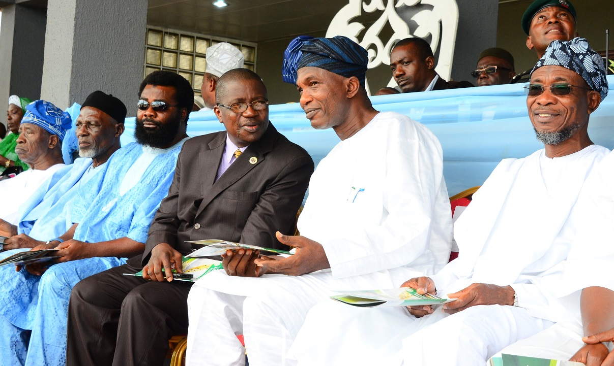 From right, Governor State of Osun, Ogbeni Rauf Aregbesola; Secretary to the State Government, Alhaji Moshood Adeoti; Head of service, Mr Olayinka Owoeye; Director General, D-Rauf Worldwide, Comrade Amitolu Shittu; Executive Secretary, Muslim Ummah of South West (MUSWEN), Professor Dawud Noibi and Retired Justice of Supreme Court, Justice Bola Babalakin, during the 8th Day Fidau Prayer for the President General, League of Imams and Alfas, South-West, Edo and Delta, Late Sheik Mustapha Ajisafe at Osogbo City Stadium, Osogbo, State of Osun on Wednesday 17-09-2014