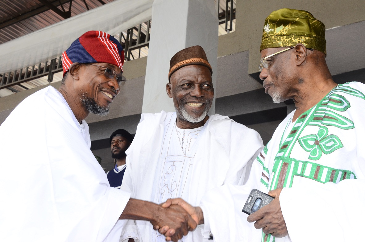 From left, Governor State of Osun, Ogbeni Rauf Aregbesola; Representative Sultan of Sokoto, Professor Daud Naibi and Head of Department, Islamic & Arabic Studies, University of Ibadan, Dr. Kamil Olosho, during the Prayer rites for late Chief Imam of Osogboland & President, League of Imams & Alfas, Southwest, Edo and Delta States, Late Sheikh Mustapha Ajisafe at Osogbo City Stadium, State of Osun on Wednesday 10-09-2014