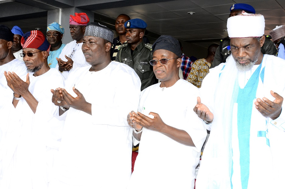 From left, Governor State of Osun, Ogbeni Rauf Aregbesola; Speaker, Osun House of Assembly, Honourable Najeem Salam; Chief of Staff to the Governor, Alhaji Gboyega Oyetola and National Missioner, Ansar-ud-Deen Society of Nigeria, Sheikh Abdul-Rahman Ahmad, during the Prayer rites for late Chief Imam of Osogboland & President, League of Imams & Alfas, Southwest, Edo and Delta States, Late Sheikh Mustapha Ajisafe at Osogbo  City Stadium, State of Osun on Wednesday 10-09-2014