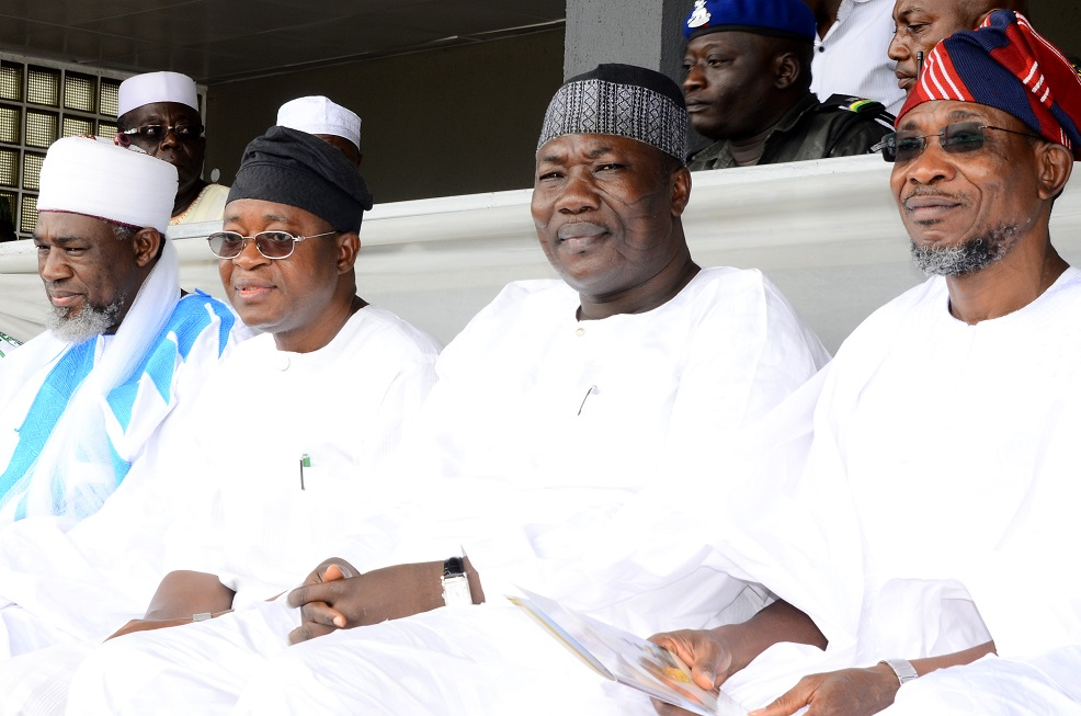 From right, Governor State of Osun, Ogbeni Rauf Aregbesola; Speaker, Osun House of Assembly, Honourable Najeem Salam; Chief of Staff to the Governor, Alhaji Gboyega Oyetola and National Missioner, Ansar-ud-Deen Society of Nigeria, Sheikh Abdul-Rahman Ahmad, during the Prayer rites for late Chief Imam of Osogboland & President, League of Imams & Alfas, Southwest, Edo and Delta States, Late Sheikh Mustapha Ajisafe at Osogb City Stadium, State of Osun on Wednesday 10-09-2014