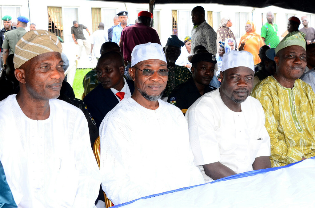 From left, Secretary to the State Government of Osun, Alhaji Moshood Adeoti; Governor Rauf Aregbesola; Commissioner for Home Affairs, Culture and Tourism, Alhaji Sikiru Ayedun and Head of Service, Mr Sunday Owoeye, during a Farewell Ceremony for 2014 Intending Pilgrims to Saudi Arabia at Governor's Office, Osogbo, on Thursday 11-09-2014