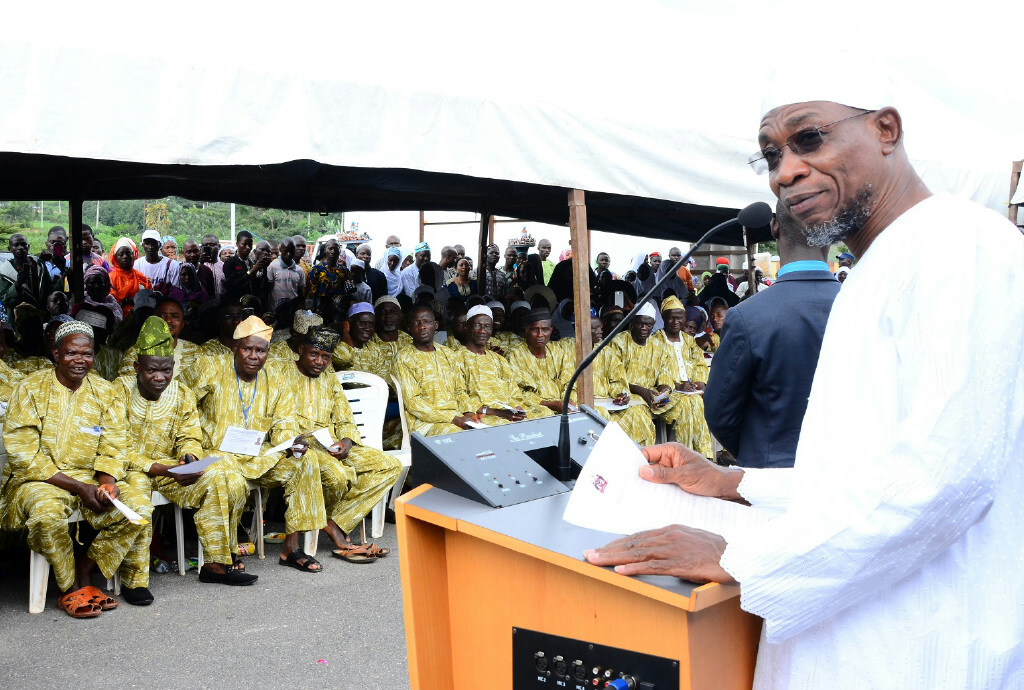 Governor State of Osun, Ogbeni Rauf Aregbesola (right) addressing the 2014 Intending Pilgrims to Saudi Arabia, during a Farewell Ceremony for them at Governor's Office, Osogbo, on Thursday 11-09-2014