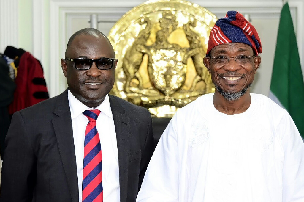 Governor State of Osun, Ogbeni Rauf Aregbesola (right) and Managing Director, Nigerian Agricultural Insurance Corporation, Mr Bode Opadokun, during a Courtesy Visit to the Governor in his Office, Abere, State of Osun on Thursday 11-09-2014