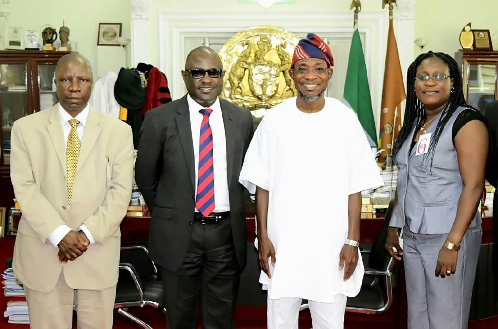 Governor State of Osun, Ogbeni Rauf Aregbesola (2nd right); Managing Director, Nigerian Agricultural Insurance Corporation (NAIC), Mr Bode Opadokun (2nd left); Zonal Manager NAIC, Oyo State, Mr Rasheed Ogunbiyi (left) and Branch Manager NAIC, Oyo State, Mrs Famodun Kemi, during a Courtesy Visit to the Governor in his Office, Abere, State of Osun on Thursday 11-09-2014
