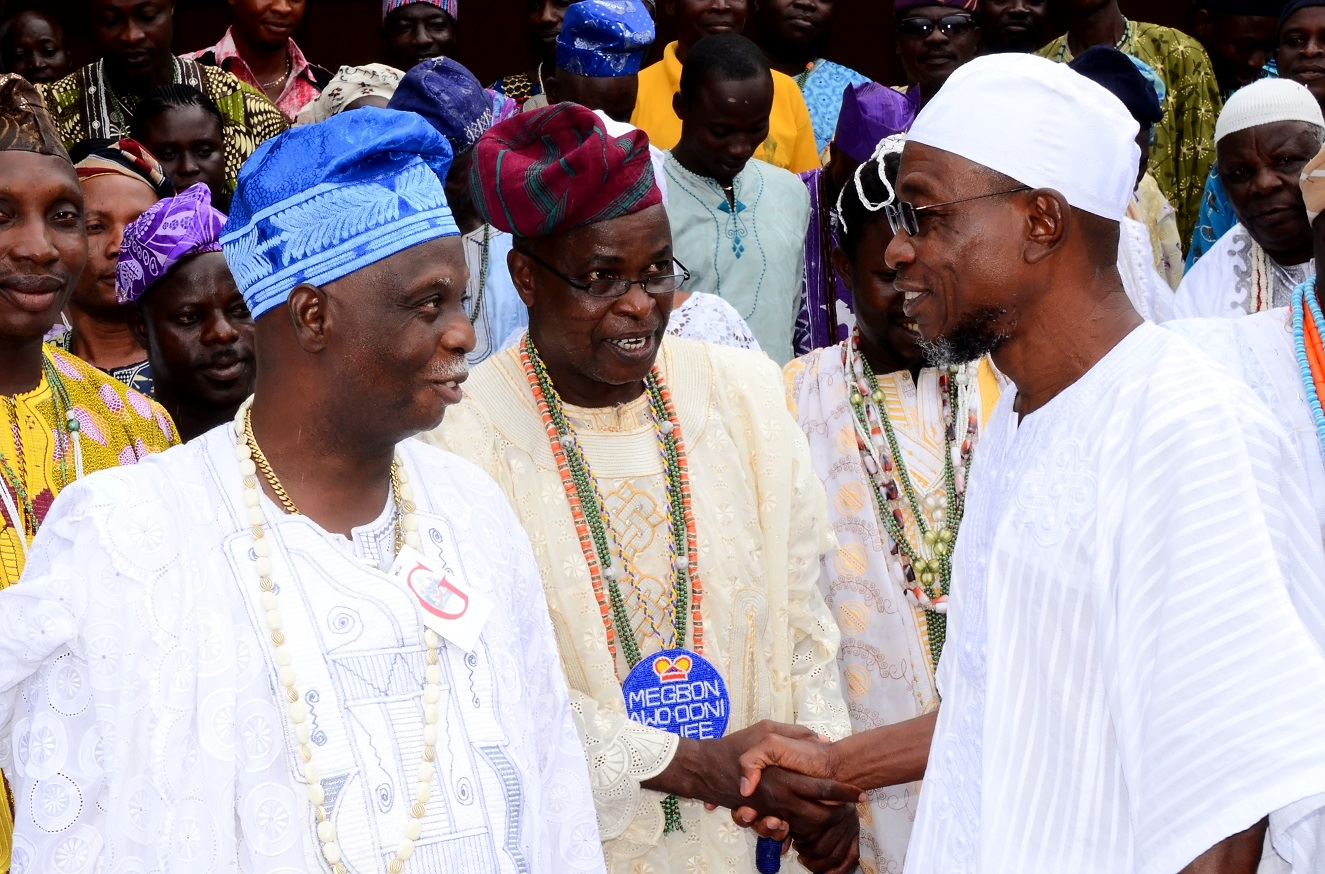 From right, Governor State of Osun, Ogbeni Rauf Aregbesola; Megbon Awo, Ooni of Ife, Chief Tunde Falolu and President, Traditional Religion Worshippers Association (TRAWSO), Osun Branch, Chief Idowu Awopetu, during the Traditional Worshippers' Visit to the Governor at Government House, Osogbo, State of Osun on Saturday 20-09-2014