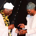 Former, President International Court of Justice, Prince Bola Ajibola (left) presenting an award to Governor State of Osun, Ogbeni Rauf Aregbesola as an Excellent Public Administrator 2014, during the 6th Prince Bola Ajibola Annual Lecture Series at Obafemi Awolowo University, Ile-Ife on Wednesday 15-10-2014