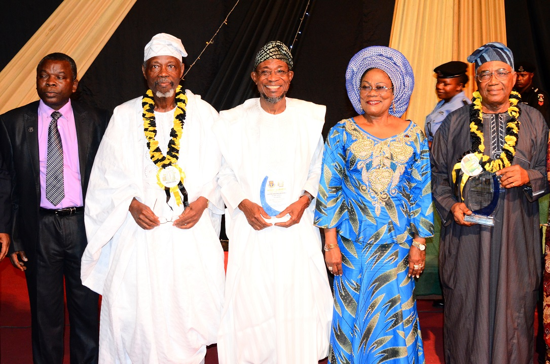 Governor State of Osun, Ogbeni Rauf Aregbesola (centre); his Deputy, Mrs Titi Laoye-Tomori (2nd right); Former, President International Court of Justice, Prince Bola Ajibola (2nd left); Chairman of the occasion, Professor Nurudeen Adedipe (right) and Deputy Vice Chancellor Administration, Obafemi Awolowo University (OAU), Professor Omolayo Ajayi (left), during the 6th Prince Bola Ajibola Annual Lecture Series at Obafemi Awolowo University, Ile-Ife on Wednesday 15-10-2014