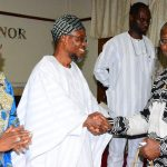 Governor State of Osun, Ogbeni Rauf Aregbesola (2nd left) exchanging pleasantries with Country Director, African Development Bank, Dr. Usman Dore while Deputy Governor State of Osun, Mrs. Titi Laoye – Tomori (left) and Special Adviser to the Governor on Rural Development and Community Affairs, Mr. Kunle Ige, look on, during a visit to the Governor in his office, Abere, Osogbo, State of Osun