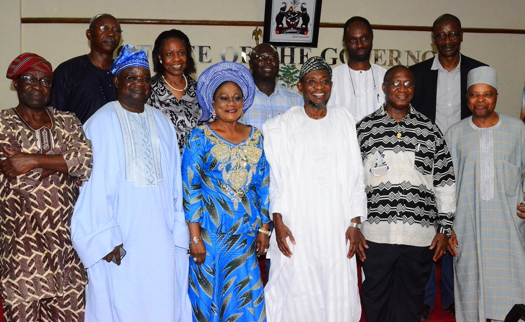 Governor State of Osun, Ogbeni Rauf Aregbesola (3rd right); his Deputy, Mrs. Titi Laoye – Tomori (3rd  left), Country Director, African Development Bank, Dr. Usman Dore(2nd right), Chief Olufemi Akande (2nd left), Asiwaju of Iwo Land, Barrister Gbadegesin Adedeji (left), General Alani Akinrinade and other during a visit to the Governor in his office,  Abere, Osogbo State of Osun