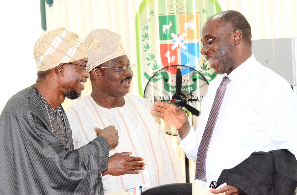 From left, Governor Rauf Aregbesola of Osun; Governor Abiola Ajimobi of Oyo and Rotimi Ameachi of Rivers States, during the All Progressives Congress (APC) Governors' Forum in Kwara State Government House, Ilorin on Wednesday 22-10-2014